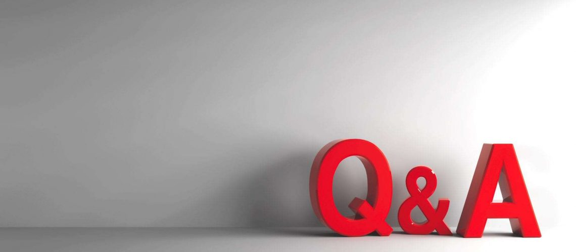 Red letters Q&A - Questions and answers - on grey background, three-dimensional rendering, 3D illustration
