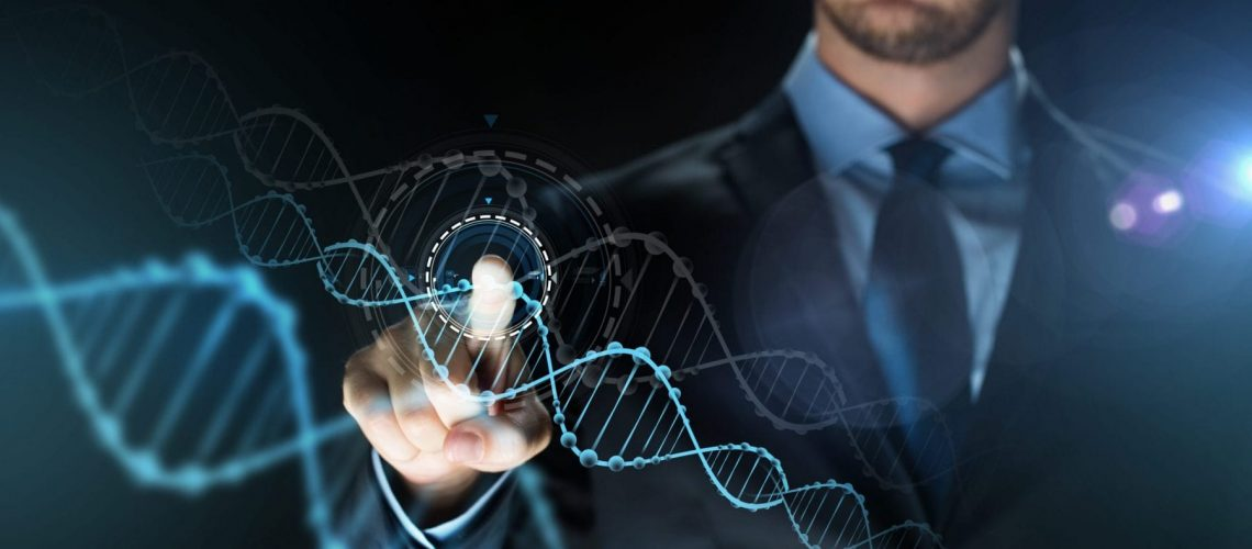 business, people, science, future technology and genetics concept - close up of businessman touching virtual dna molecule projection over dark background